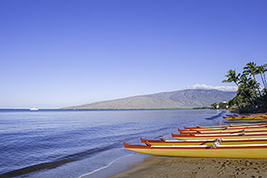 Maui Beach with outrigger canoes