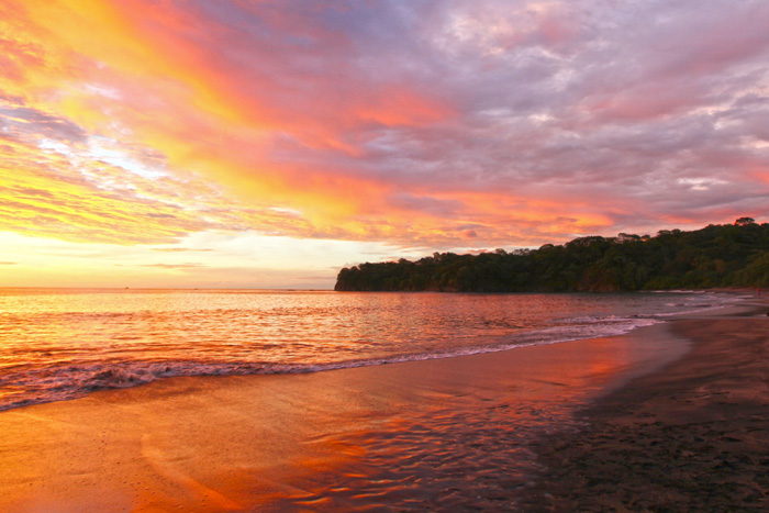 Sunset at beach in Guanacaste