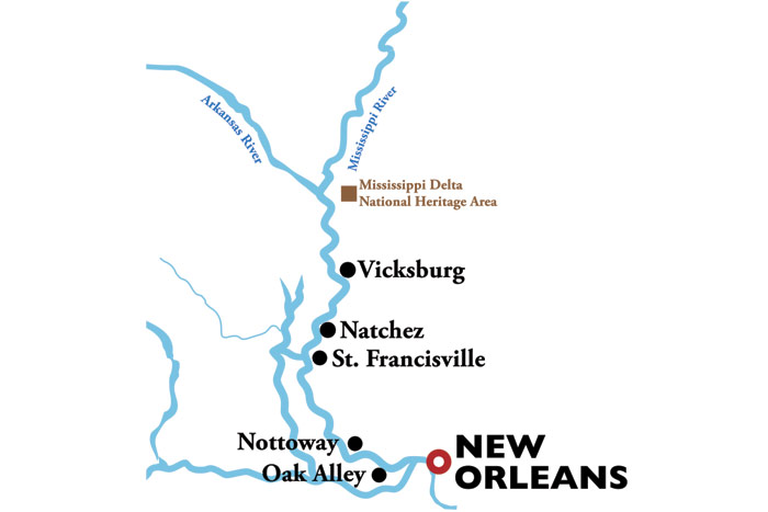 American Duchess New Orleans Roundtrip Itinerary Map