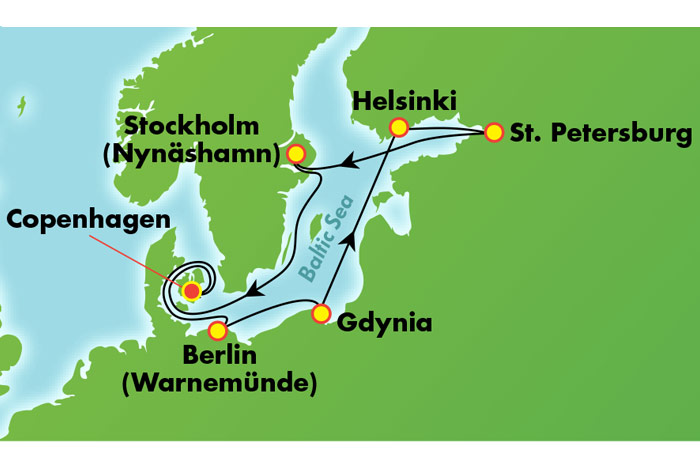Cruise Map: Scandinavia from Copenhagen