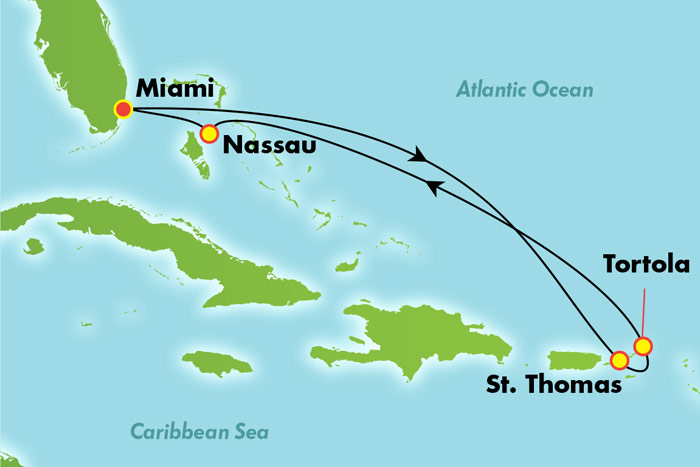 Eastern Caribbean from Miami - Cruise Map