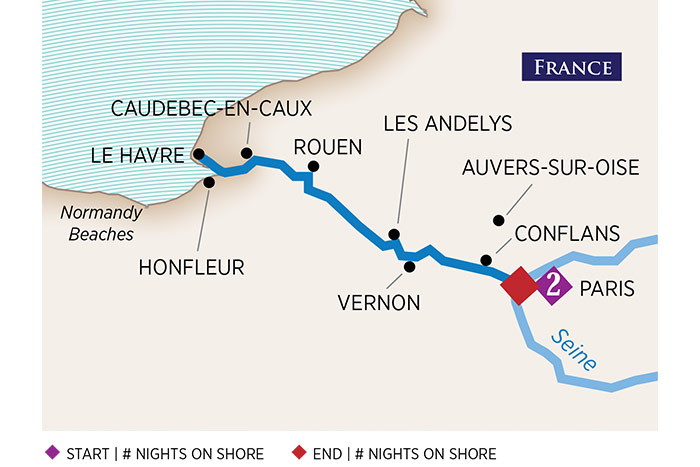 AMAwaterways Paris and Normandy Cruise Itinerary Map