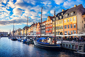 Traditional Houses in Copenhagen old Town Nyhavn at Sunset