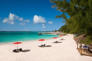 Beach Umbrellas on lagoon, Sandals Resorts