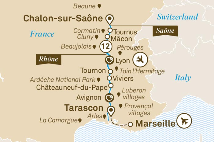 Scenic Cruises South of France Itinerary Map