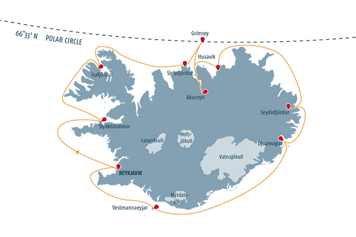 Iceland Circumnavigation Cruise Itinerary Map