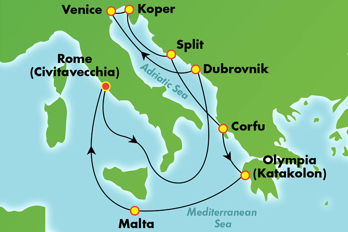 7-Day Western Mediterranean from Barcelona Cruise Map