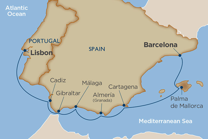 Windstar Spanish Symphany Cruise Itinerary Map