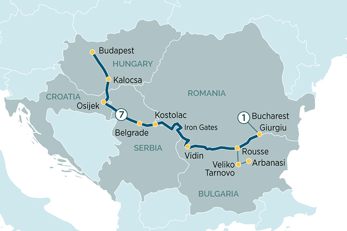 Emerald Waterways Enchantment of Eastern Europe Cruise Itinerary Map