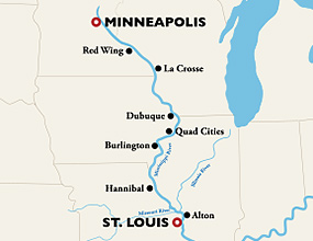 Minneapolis to St. Louis Cruise Route
