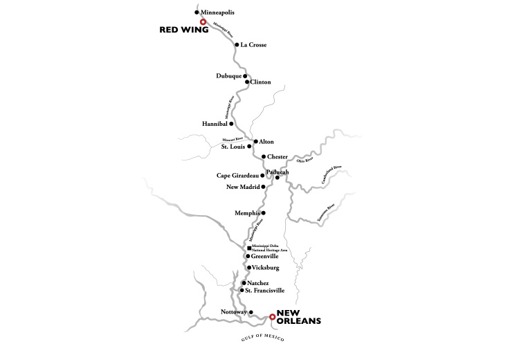 Mighty Mississippi 23 Day Cruise Itinerary Map