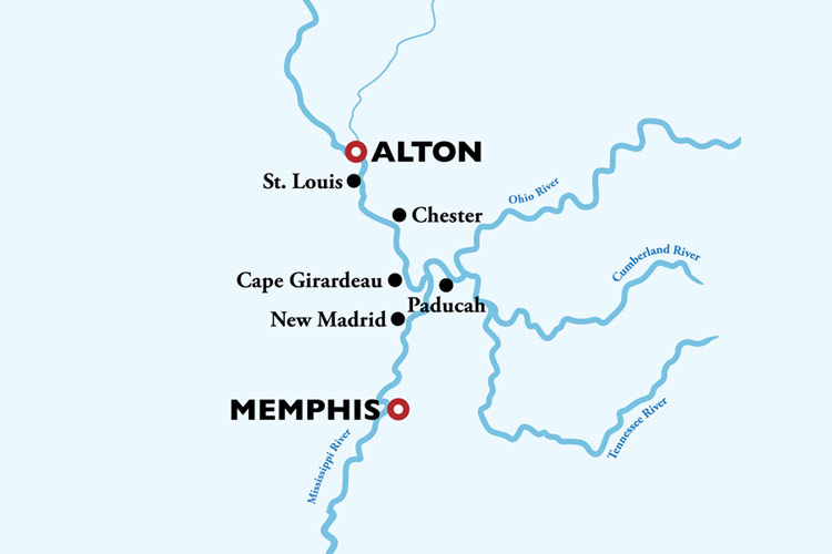Memphis to St Louis Cruise Map