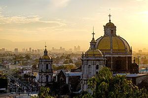 Basilica of Guadalupe and Mexico City skyline