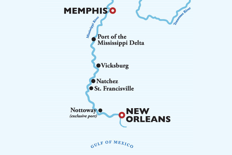American Countess New Orleans to Memphis Itinerary Map