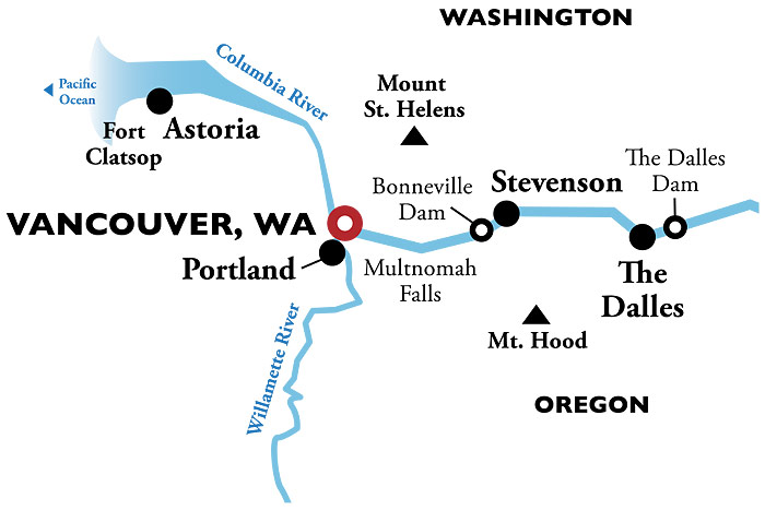 Portland Snake River Round-trip Itinerary Map
