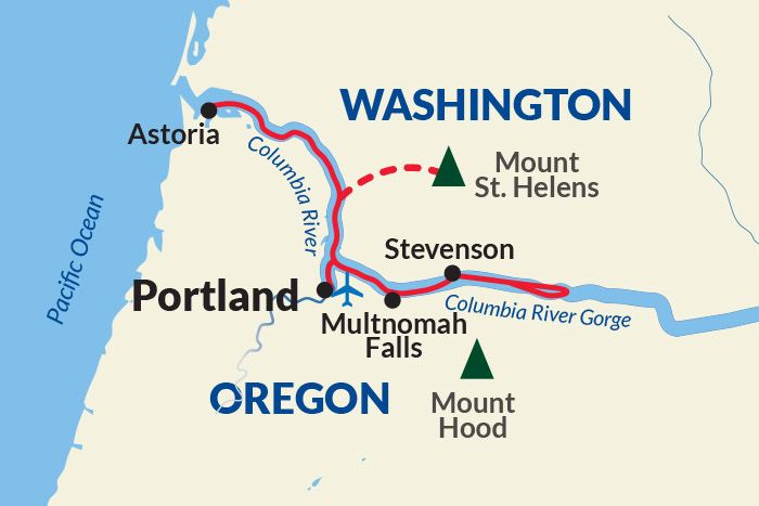 Columbia River Cruise Itinerary Map