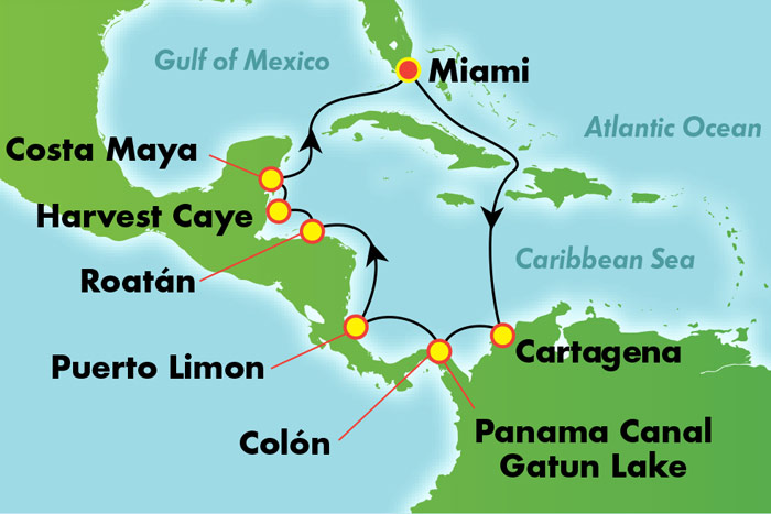 Panama Canal Round-trip from Miami: Cruise Map