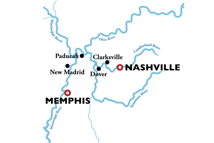 American Duchess Nashville to Memphis Itinerary Map